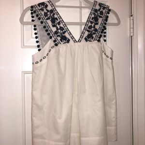 JCREW cream and navy blouse SIZE 00